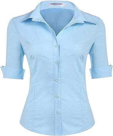 Dooxii Mujer Moda Medias Mangas Color Sólido Camisas Casual Elegante Oficina Blusa Tops Azul Claro XL: Amazon.es: Ropa y accesorios