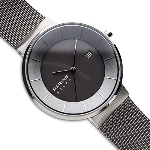 BERING Time 14639-309 Solar Collection Slim Watch with Mesh Strap and Scratch Resistant Sapphire Crystal. Designed in Denmark