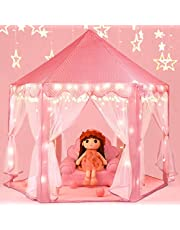 SooFam Princess Tent Girls Large Playhouse Kids Castle Play Tent with Star Lights Toy for Children Indoor and Outdoor Games, 55'' x 53'' (DxH)