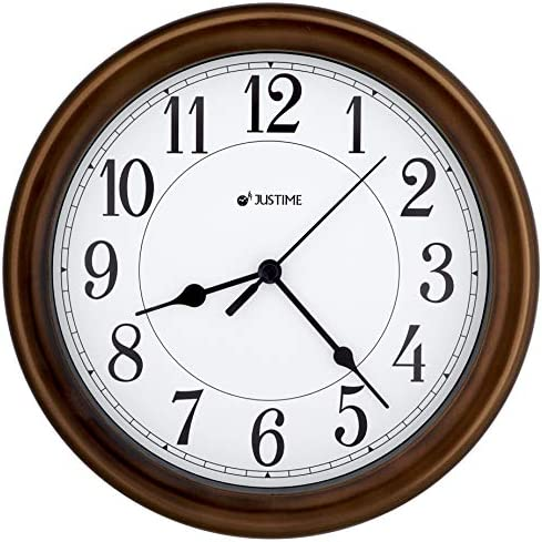 8.5 Inch Simply High-end Plastic Decorative Wall Clock, Water Resistant, Special for Small Space, Office, Boats, RV W86011 Oil Rubbed Bronze