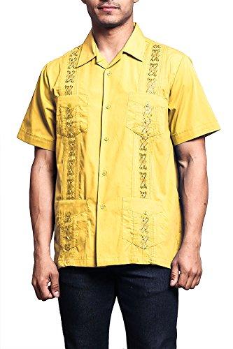 (G-Style USA Men's Short Sleeve Cuban Guayabera Shirt 2000-1 - Yellow - X-Large)