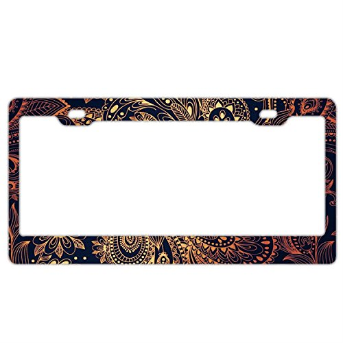 - Customized Personalized Stainless Steel License Plate Frame Holder, Decorative License Plate Frame Retro Gold Flowers Paisley Pattern