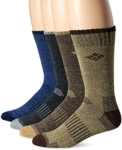 k Mid-Calf Check Crew Socks, Black/Brown/Blue/Khaki 10-13/Shoe Size 6-12 ()