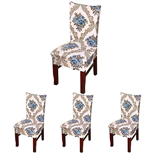 ColorBird European Style Spandex Fabric Chair Slipcovers Removable Universal Stretch Elastic Chair Protector Covers for Dining Room, Hotel, Banquet, Ceremony (Set of 4, Blue Baroque)