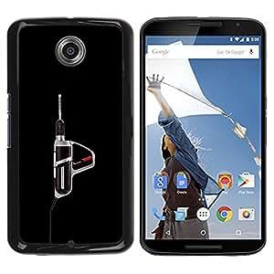 MobileHut / Motorola NEXUS 6 / X / Moto X Pro / Power Tool Drill Black Manly Tool / Delgado Negro Plástico caso cubierta Shell Armor Funda Case Cover