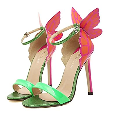 e2c48dae1320 Image Unavailable. Image not available for. Color  Sexy Green High Heels  Open Toe Ankle Strap ...