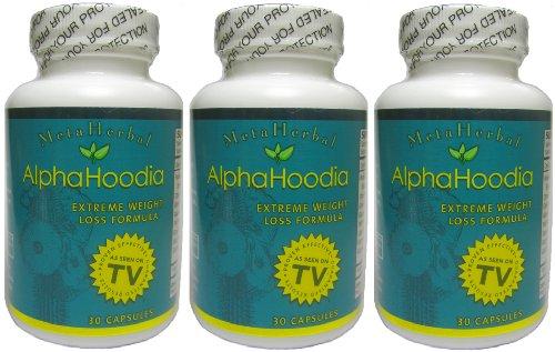 Alpha Hoodia: Best Diet Pill avec le thé vert, orange amère, Guarana, et plus pour la perte de poids - Fat Burner & Weight Control - 3 bouteilles (90 Capsules)