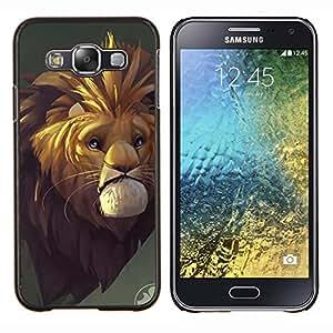 LECELL--Funda protectora / Cubierta / Piel For Samsung Galaxy E5 E500 -- León de la historieta triste cuento de hadas Safari Wild Africa --