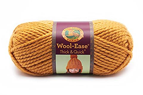 Lion 640-158 Wool-Ease Thick & Quick Yarn , 97 Meters, Mustard - Quick Yarn Barley