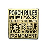 Porch Sign, Porch Rules, Wooden Typography Sign For Sale