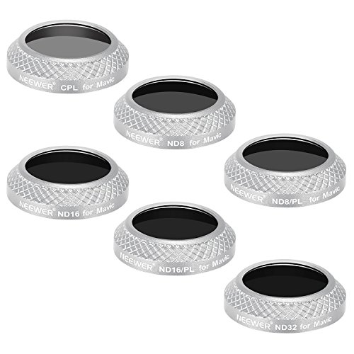Lens Light Gold Frame (Neewer 6 Pieces Filter Kit for DJI Mavic Pro Drone Quadcopter Includes: CPL, ND8, ND16, ND32, ND8/PL and ND16/PL Lens Filters, Made of Optical Glass, Multi Coated, Aluminum Alloy Frame (Silver))