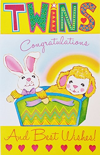 Congratulations Twins - TWINS - Congratulations and Best Wishes Baby Birth Greeting Card -