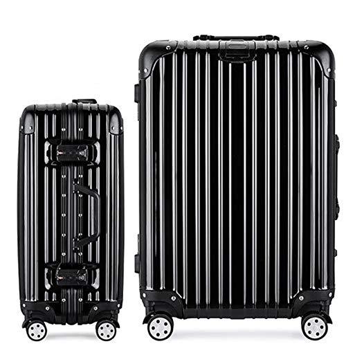 トロリーボックスユニバーサルホイールアルミフレームスーツケース男性と女性20インチ搭乗券パスワードボックス荷物スーツケースハードボックス (Color : ブラック, Size : 24 inches)   B07RBR7K3Z