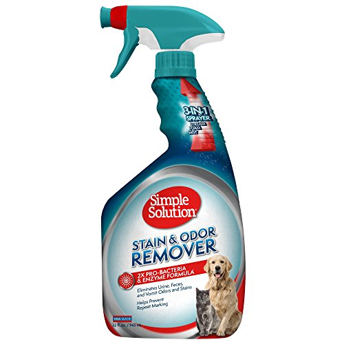 Feces Stain Removal (Simple Solution Pet Stain & Odor Remover, With New Multi Functional Sprayer, 32 oz, USA Made - Packaging May Vary)