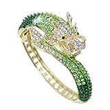 EVER FAITH Women's Austrian Crystal Cool Animal Fly Dragon Bangle Bracelet Green Gold-Tone