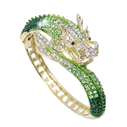 EVER FAITH Women's Austrian Crystal Cool Animal Fly Dragon Bangle Bracelet Green Gold-Tone