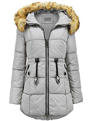 Abrigo largo de invierno de plumón con capucha de pelo largo, efecto parka gris claro