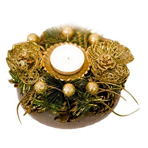 Los Titulares De Navidad De La Vela Votiva con Nevado Pinecone Berry Anillo De Vela para Navidad Vacaciones Candelabro Decoracion