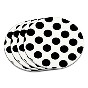 Polka Dots Black White Coaster Set