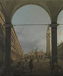 The polyster Canvas of oil painting 'Canaletto Venice Piazza San Marco ' ,size: 18 x 22 inch / 46 x 55 cm ,this Reproductions Art Decorative Prints on Canvas is fit for Nursery artwork and Home decor and Gifts