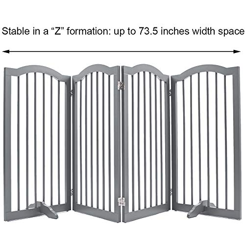 unipaws Freestanding Dog Gate w/2pcs Support Feet, Foldable Pet Gate for Stairs, Pet Gate Panels, Decorative Indoor Pet Barrier with Arched Top | Grey by unipaws (Image #4)