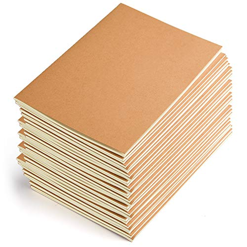 Coopay 24 Pack Journal Notebook Kraft Brown Cover Lined Notebooks for Travelers - A5 Size - 210 mm x 140 mm - 60 Lined Pages/ 30 Sheets