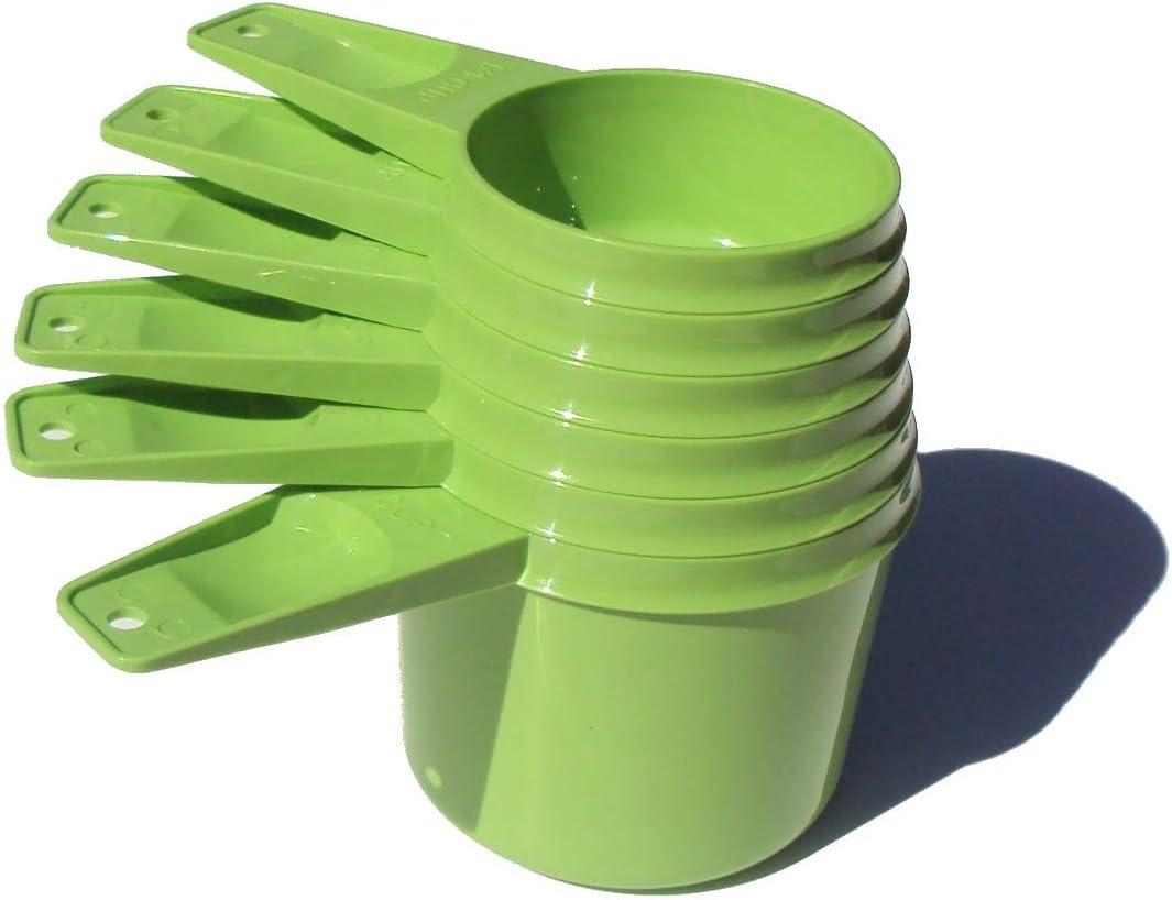 Vintage Set 6 Tupperware Apple Green Measuring Cups