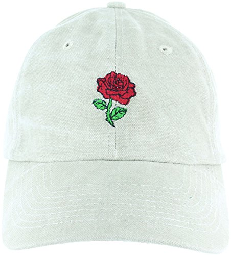 Rose Flower Dad Hat Cap - Emoji Embroidered Adjustable Khaki (strapback) Baseball Cap