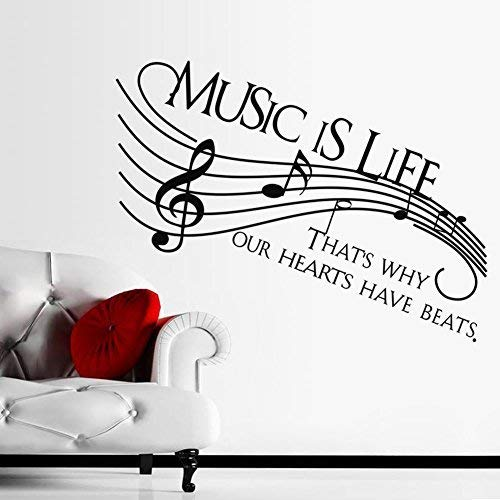 Homefind Musical Notes Walls Decals - Music is Life That's Why Our Hearts Have Beats - Stickers for Kids Bedroom Music Room Dance Room Vinyl Art Décor House Decoration (Black 51.1'' w x 22'' h) by Homefind (Image #4)