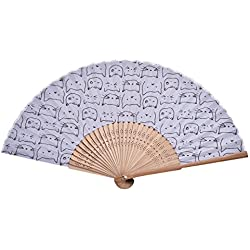 Hand Fan Bamboo Cat Printed Folding Fan Cotton For Party Wedding Gift