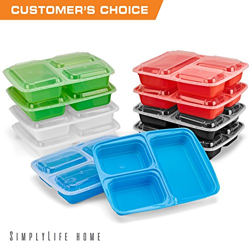 SimplyLife Home [10 Pack] 3 Compartment Meal Prep Containers