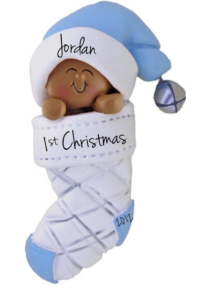 Baby Christmas Ornaments Part - 39: Amazon.com: African American Babyu0027s First Christmas, Boy Christmas Ornament:  Home U0026 Kitchen