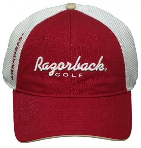 NEW! University of Arkansas Razorbacks Mesh Buckle Back Hat 3D Embroidered Cap (Mesh Razorbacks Arkansas White)