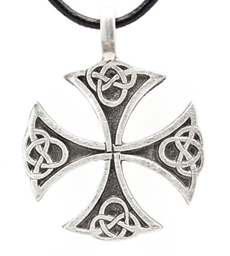 Pewter Classic Celtic Iron Cross Pendant on Leather (Cross Pewter Pendant Leather Necklace)