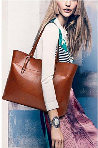 Handbags Leather PU handle Brown Bags Purse Shoulder Messenger Big Women Super Satchel Top Lady FiveloveTwo Tote Hobo 8qXRZa