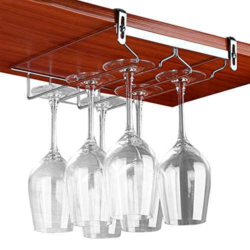 VOBAGA Stemware Racks 2 or 3 Rows Adjustable Stainless Steel Wine Glass Rack Stemware Hanger Bar Home Cup Glass Holder Dinnerware Kitchen Dining