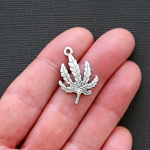 (8 Marijuana Leaf Charms Antique Silver Hemp Weed Jewelry Making Supply, Pendant, Bracelet, DIY Crafting and Other by Wholesale Charms)