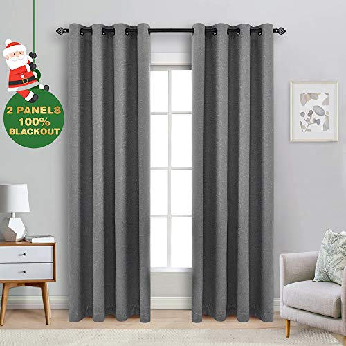 ECODECOR Paisley Blackout Curtain Panels 84 inch Grey Embossed Jacquard Pattern Energy Efficient Thermal Weave Window Drapes for Bedroom 2 pcs ()