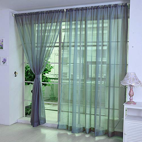 BeautyShe Floral Embroidered Semi Sheer Curtains Faux Linen Grommet Curtains for Girls Room 3.3x8.6ft