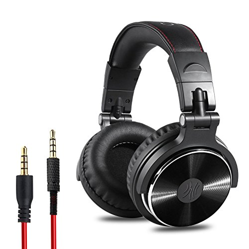 Mono Headphone Replaceable Coiled Cord - OneOdio Adapter-Free Closed Back Over-Ear DJ Stereo Monitor Headphones, Professional Studio Monitor & Mixing, Telescopic Arms with Scale, Newest 50mm Neodymium Drivers - Black