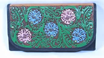 Montana Silversmiths Ladies Leather Wallet Hand-tooled and Hand Painted