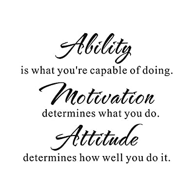 Ability is what you're capable of doing. Motivation determines what you do Inspirational Home Bedroom Mural DIY Quote Saying Inspirational Vinyl Wall Sticker Decals Transfer Removable Words Lettering