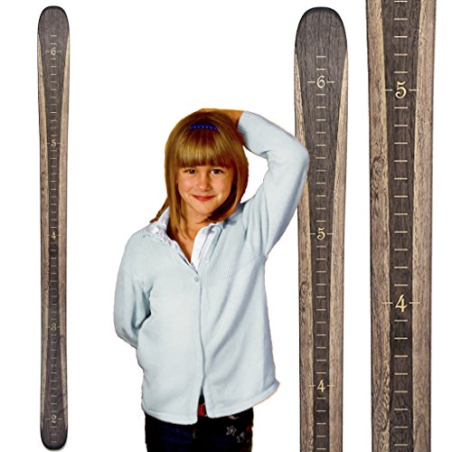 Growth Chart Art | Ski Growth Chart | Wooden Wall Hanging Height Chart for Kids, Children, Boys & Girls | Gray Woodgrain (Ski Home Decor)