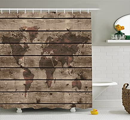 Amazon rustic world map decor shower curtain by ambesonne amazon rustic world map decor shower curtain by ambesonne world atlas reflection on horizontal lined up oak region space theme fabric bathroom decor gumiabroncs Image collections