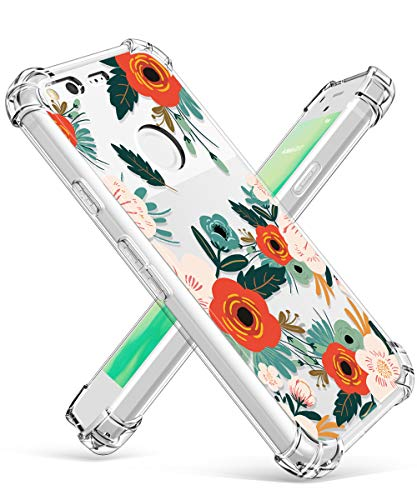Compatible Google Pixel Case, GVIEWIN Flower Pattern Design Google Pixel Phone Case Shockproof Corner, Ultra Slim TPU Bumper Protective Cover Case(Flowering/Reseda Green)
