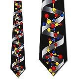 DNA Helix Scientist Necktie Black Biology Neck Tie by Three Rooker