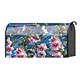 Hollyhocks and Hummingbirds on Dark Sky 22 x 18 Standard Size Mailbox Cover