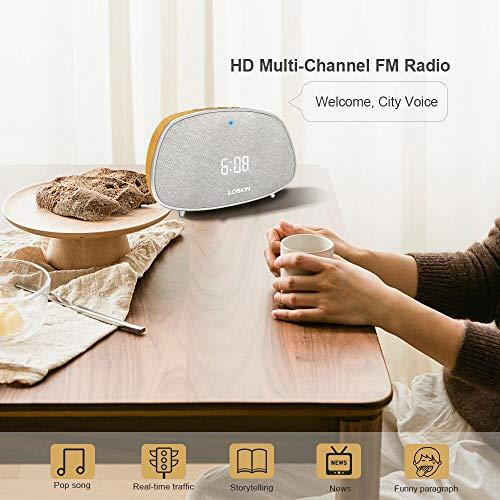 Wireless Speaker, Dual Alarm Clocks Snooze, Stereo HiFi Sound Portable Home Audio, FM Radios Muilti-Function, 10W Build in Mic TWS Support, Classic Wood Grain Retro Bluetooth Speaker