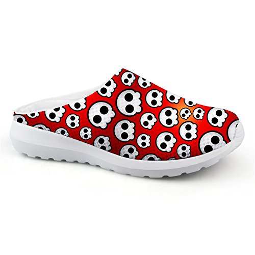Bigcardesigns Summer Backless Sneakers ons Breathable skull2 Skull Shoes Mesh Women Slip 6FwarEx6