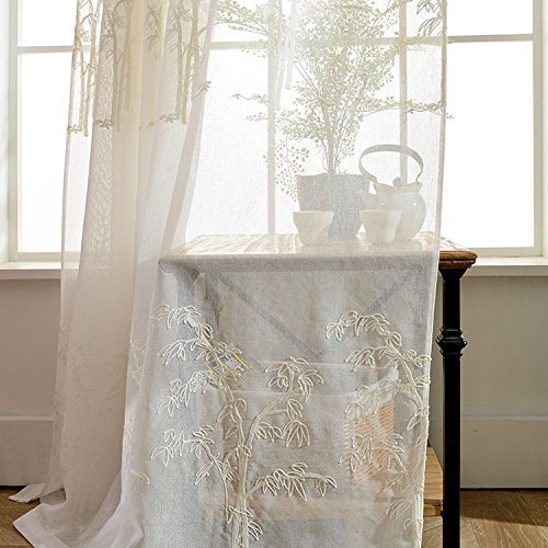 AliFish 1 Panel Transparent Curtains with Embroidery Bamboo Leaf Pattern Half Shading Small Fresh Faux-Linen Rod Pocket Window Drapes Sheer/Voile/Tulle/Yarn Curtains for Living Room W39 x L63 inch